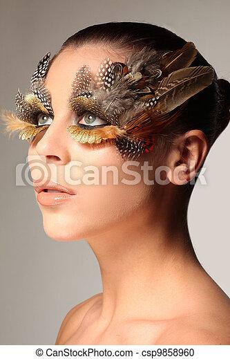 Photo , décoratif, aimer, aile, maquillage, plume, oiseau