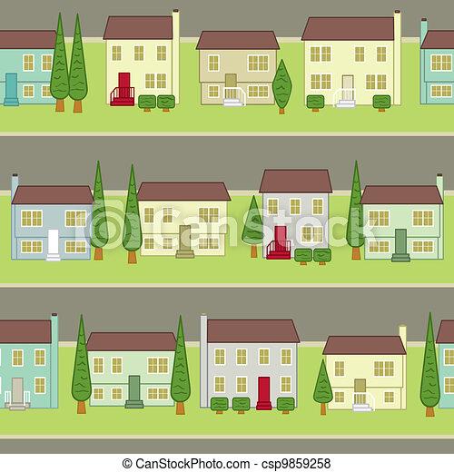Seamless Suburban Community - csp9859258
