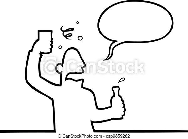 Drunk man with alcoholic beverage - csp9859262