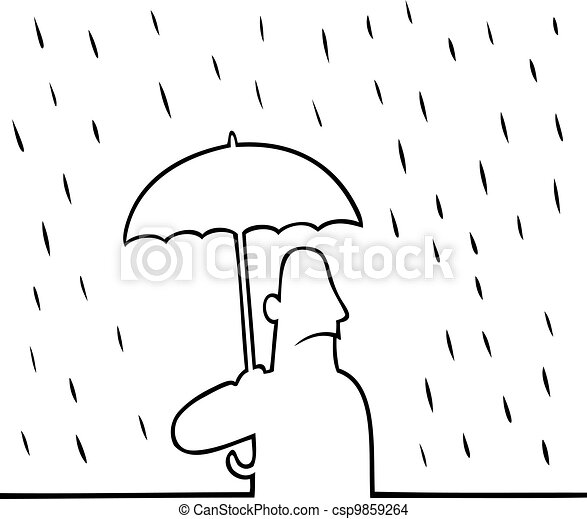 Man with umbrella in rain - csp9859264