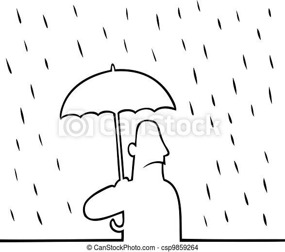 Man with umbrella in rain - csp9859264