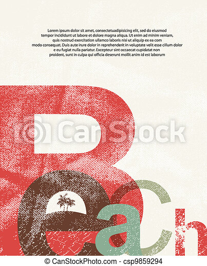 Beach. Retro grunge typographic poster. - csp9859294