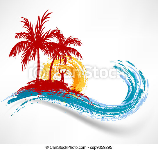 Palm trees and ocean wave. Man against the sunset - csp9859295