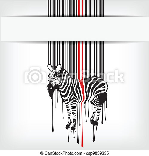 abstract vector zebra silhouette with barcode - csp9859335