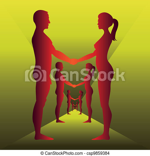 Naked men and women holding by hands - silhouette illustration - csp9859384