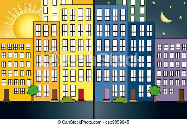 City night and day - csp9859645