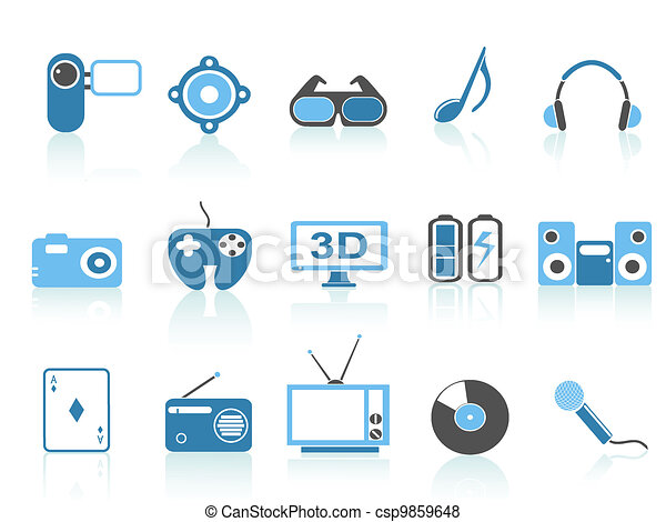 media entertainment icons , blue series - csp9859648
