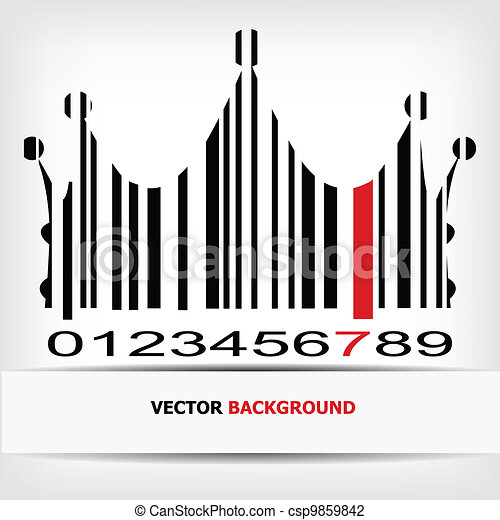 Barcode image with red strip - csp9859842