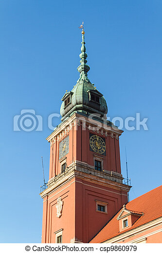 Warsaw, Poland. Old Town - famous Royal Castle. UNESCO World Heritage Site. - csp9860979
