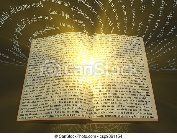 Book with floating text and light - csp9861154