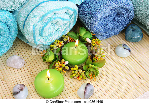 Towels, candles and stones - csp9861446