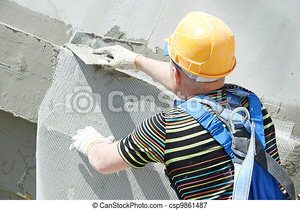 facade builder plasterer at work - csp9861487