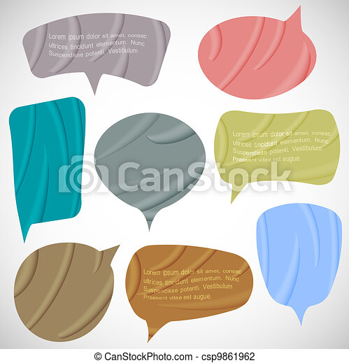 Vector set of silk speech bubbles - csp9861962