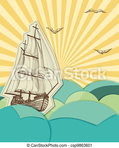 Retro sea background with sailing ship - csp9863601