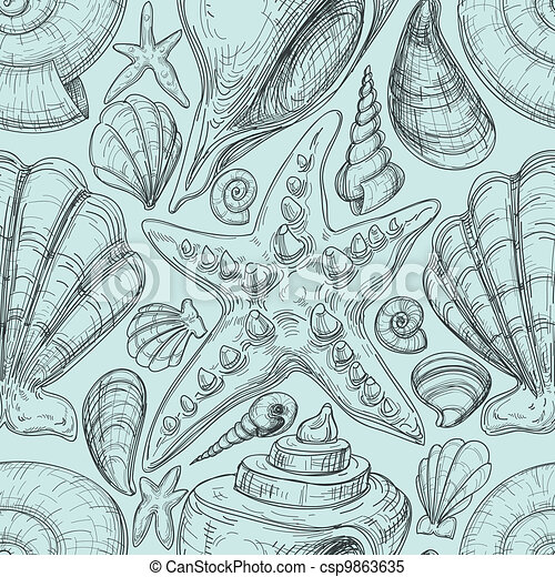Beach seamless pattern with shells and starfish sketch - csp9863635