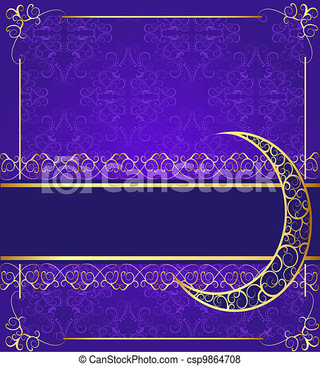 seamless background with band and moon with gold(en) pattern - csp9864708