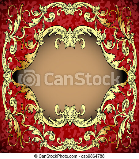 red background with frame with gold(en)(en) sample - csp9864788