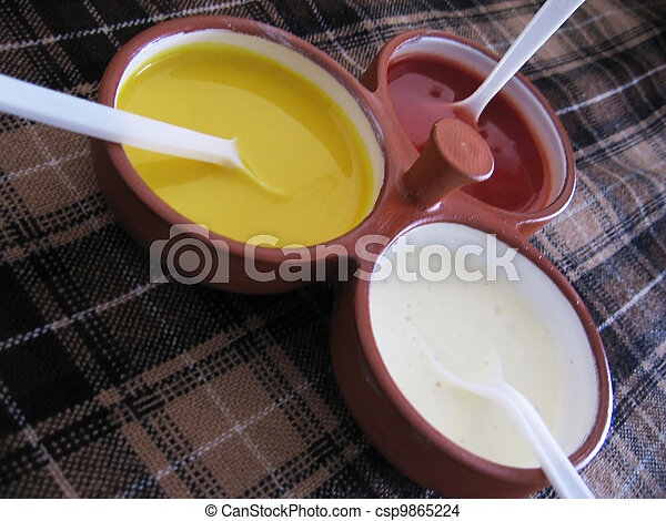 Condiments in the restaurant - csp9865224