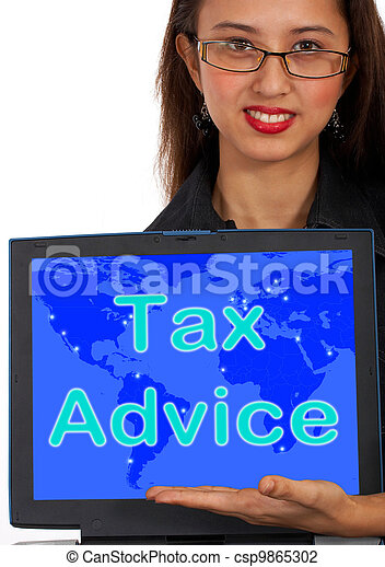 Tax Advice Computer Message Shows Taxation Help Online - csp9865302