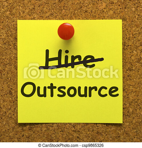 Outsource Note Showing Subcontracting Suppliers And Freelance - csp9865326