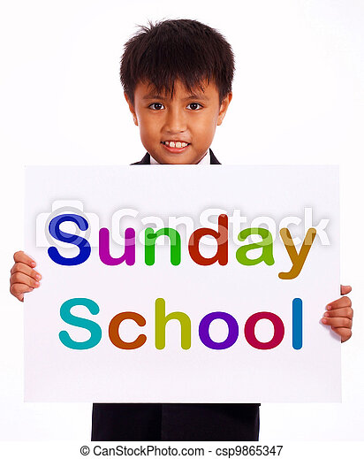 Sunday School Sign Showing Christian Kids Activity - csp9865347