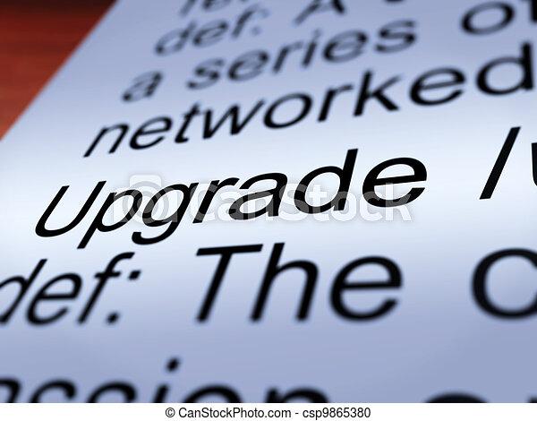 Upgrade Definition Closeup Showing Software Update - csp9865380