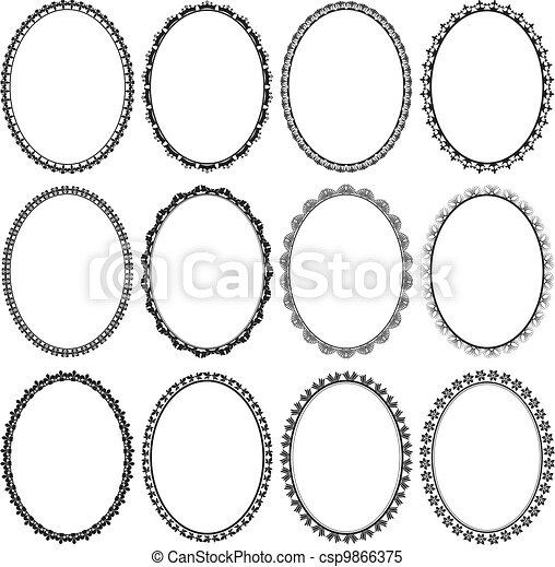 Clipart vettoriali di cornici, Ovale - set, di, cornici ...