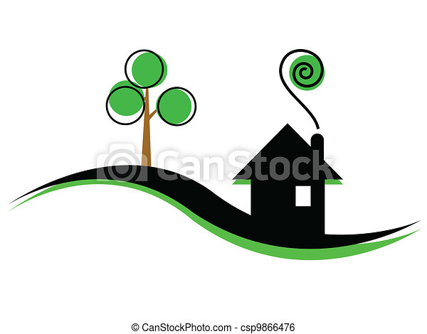 illustration of simple house - csp9866476
