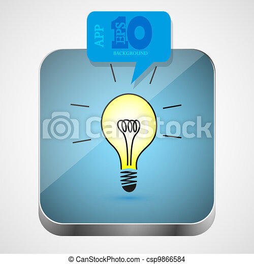 Vector idea app icon with blue bubble speech. Eps10 - csp9866584