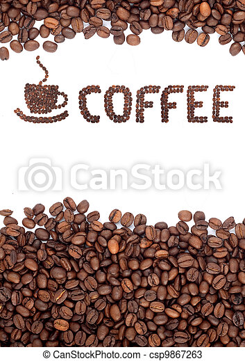 Brown roasted coffee beans - csp9867263