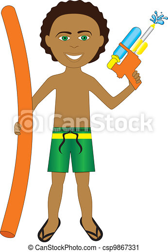 Vector Clip Art of Mixed Afro Boy - Vector Illustration of little ...