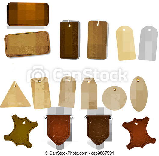 Big set of leather labels and tags. - csp9867534