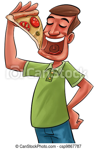 eating pizza - csp9867787