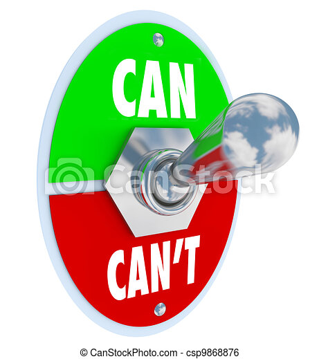 Can or Can't Toggle Switch Committed to Solution Attitude - csp9868876