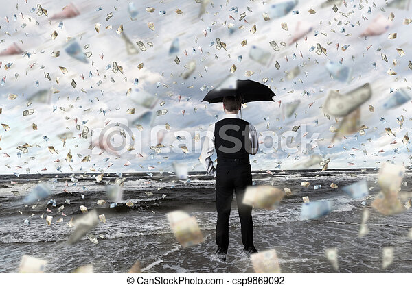Money rain and businessman with umbrella - csp9869092