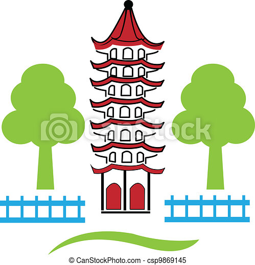 China town skyline Vector  - csp9869145