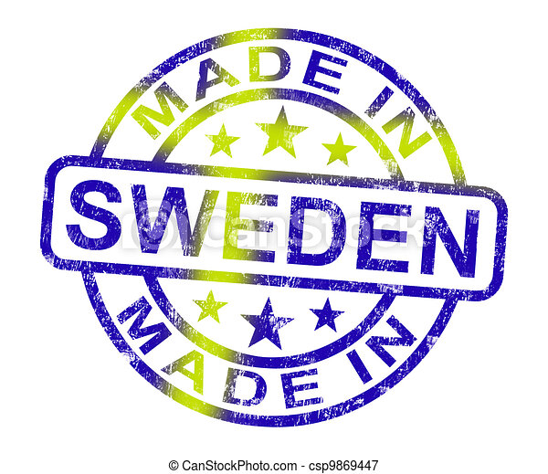 Made In Sweden Stamp Shows Swedish Product Or Produce - csp9869447