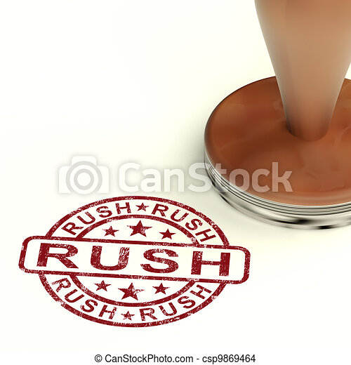 Stock Illustration - Rush Stamp Shows Speedy Urgent Express Delivery    Rush Delivery Stamp