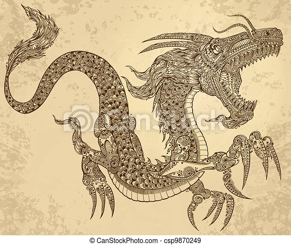 Henna Tattoo Tribal Dragon Vector - csp9870249
