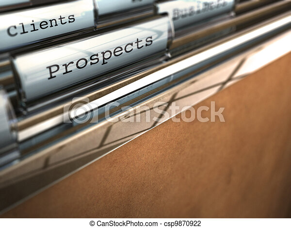 folder with the word prospects and at the backside another one where it is written client, brown paper and clear plastic - csp9870922