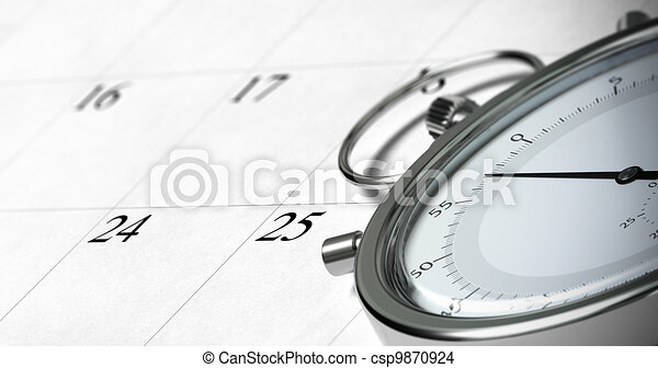 close up of a stopwatch onto a schedule with focus on the numbers 24 and 25, symbol of time management, blur effect - csp9870924