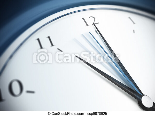 close up of a blue clock with second minute hand in movement, minute hand pointing the number 12 and minute hand pointing on eleven - csp9870925