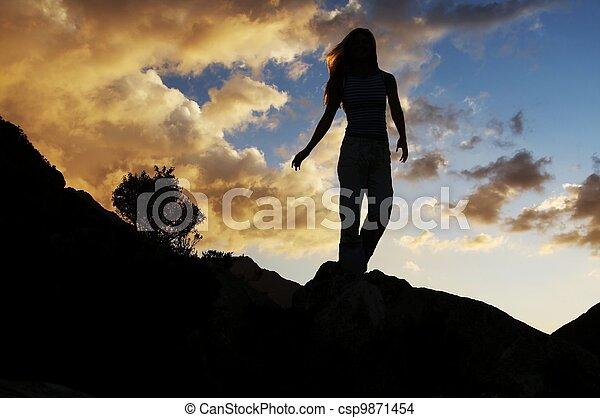 Girl silhouette - csp9871454