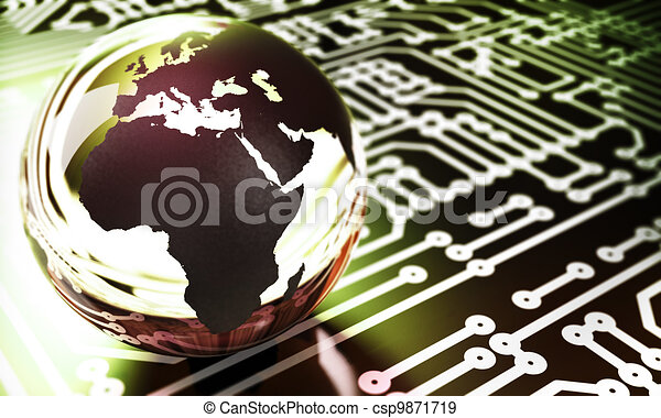 earth made with glass onto a printed circuit with room for text at the right side and blur effect - csp9871719