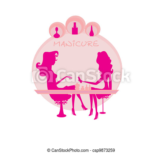 Young lady doing manicure  - csp9873259