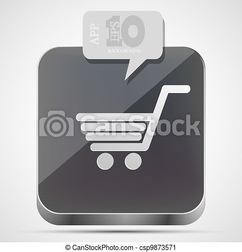 Vector shopping app icon with gray bubble speech. Eps10 - csp9873571