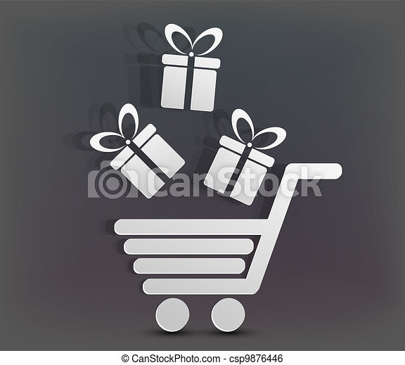 Vector holiday shopping background. - csp9876446