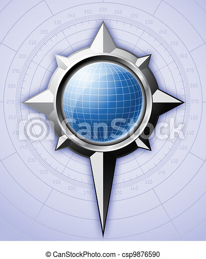 Steel compass rose with blue globe inside it. - csp9876590