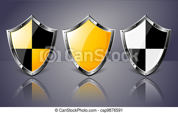 Set of Steel Shields over dark background - csp9876591