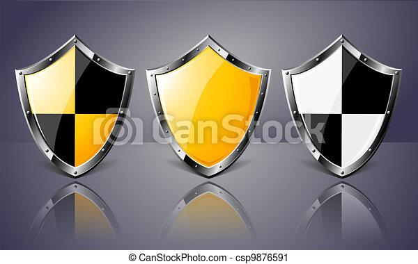 Set of Steel Shields over dark background - csp9876591